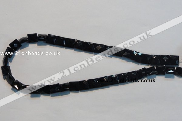 CAB801 15.5 inches 10*10mm faceted square black gemstone agate beads