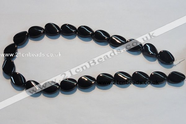 CAB814 15.5 inches 13*18mm twisted oval black agate gemstone beads