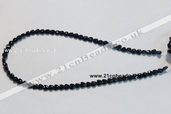 CAB824 15.5 inches 6*6mm faceted heart black agate gemstone beads