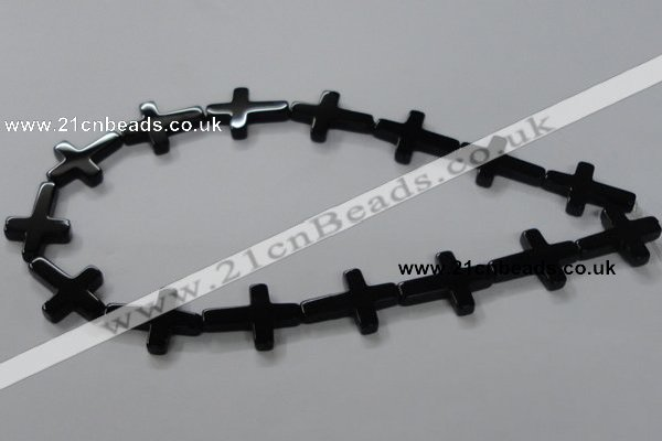 CAB848 15.5 inches 18*24mm cross black agate gemstone beads wholesale