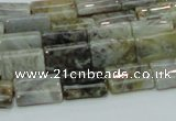CAB85 15.5 inches 10*15mm rectangle silver needle agate gemstone beads