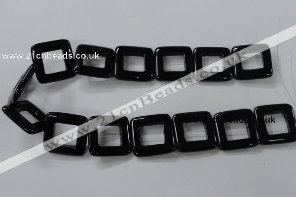 CAB863 15.5 inches 28*28mm square black agate gemstone beads wholesale