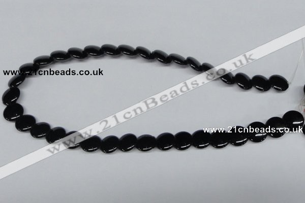 CAB982 15.5 inches 14mm flat round black agate gemstone beads wholesale