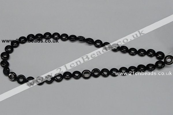 CAB995 15.5 inches 10mm donut black agate gemstone beads wholesale
