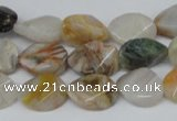 CAG1130 15.5 inches 12*16mm twisted oval bamboo leaf agate beads