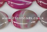 CAG1188 15.5 inches 22*30mm oval line agate gemstone beads