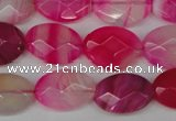 CAG1191 15.5 inches 13*18mm faceted oval line agate gemstone beads