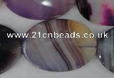CAG1192 15.5 inches 25*35mm faceted oval line agate gemstone beads