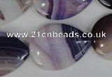 CAG1215 15.5 inches 22*30mm flat teardrop line agate gemstone beads