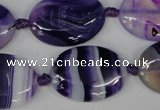 CAG1234 15.5 inches 18*25mm oval line agate gemstone beads