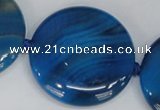 CAG1290 15.5 inches 35mm flat round line agate gemstone beads