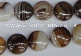CAG1305 15.5 inches 14mm flat round line agate gemstone beads