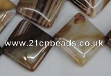 CAG1328 15.5 inches 20*20mm diamond line agate gemstone beads