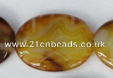 CAG1370 15.5 inches 30*40mm faceted oval line agate gemstone beads