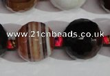 CAG1418 15.5 inches 20mm faceted round line agate gemstone beads