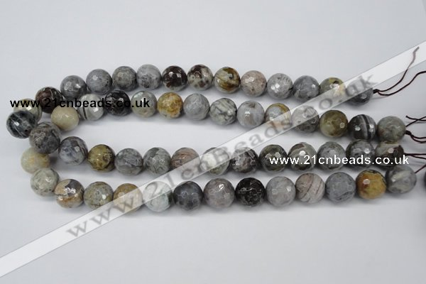CAG1435 15.5 inches 14mm faceted round bamboo leaf agate beads