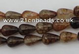 CAG1445 15.5 inches 8*12mm teardrop dragon veins agate beads