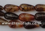 CAG1448 15.5 inches 10*20mm teardrop dragon veins agate beads