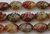 CAG1455 15.5 inches 10*15mm twisted rice dragon veins agate beads