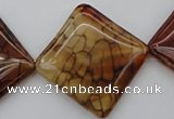 CAG1488 15.5 inches 30*30mm diamond dragon veins agate beads