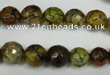 CAG1523 15.5 inches 10mm faceted round fire crackle agate beads