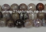 CAG1526 15.5 inches 10mm faceted round fire crackle agate beads