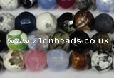 CAG1531 15.5 inches 10mm faceted round fire crackle agate beads