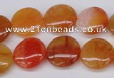 CAG1649 15.5 inches 18mm flat round red agate gemstone beads