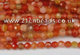 CAG1654 15.5 inches 4mm faceted round red agate gemstone beads
