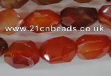 CAG1673 15.5 inches 14*18mm faceted nuggets red agate gemstone beads