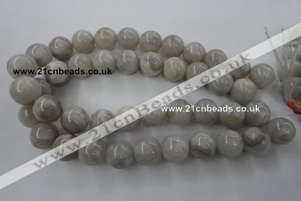 CAG1901 15.5 inches 18mm round grey agate beads wholesale
