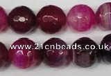 CAG2089 15.5 inches 14mm faceted round fuchsia line agate beads