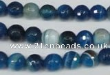 CAG2105 15.5 inches 10mm faceted round blue line agate beads