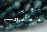 CAG213 15.5 inches 8*10mm freeform blue agate gemstone beads