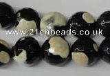 CAG2245 15.5 inches 14mm faceted round fire crackle agate beads