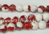 CAG2252 15.5 inches 8mm faceted round fire crackle agate beads