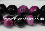 CAG2266 15.5 inches 16mm faceted round fire crackle agate beads
