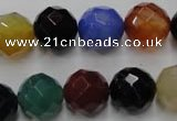 CAG2355 15.5 inches 14mm faceted round multi colored agate beads