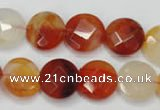 CAG2393 15.5 inches 14mm faceted coin red agate beads wholesale
