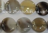 CAG2437 15.5 inches 16mm flat round Chinese botswana agate beads