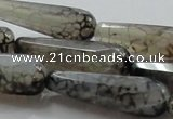CAG248 15.5 inches 12*40mm faceted teardrop dragon veins agate beads