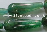 CAG253 15.5 inches 15*40mm teardrop green dragon veins agate beads