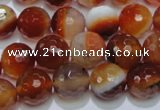 CAG2704 15.5 inches 12mm faceted round red line agate beads