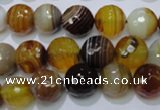 CAG2713 15.5 inches 10mm faceted round yellow line agate beads