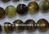 CAG2715 15.5 inches 14mm faceted round yellow line agate beads