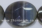 CAG2729 15.5 inches 50mm faceted coin grey line agate beads