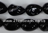 CAG2900 15.5 inches 13*18mm twisted teardrop black line agate beads