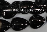 CAG2927 15.5 inches 15*20mm flat teardrop black line agate beads