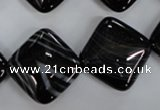 CAG2937 15.5 inches 20*20mm diamond black line agate beads