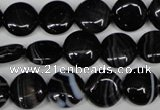CAG2992 15.5 inches 12mm flat round black line agate beads